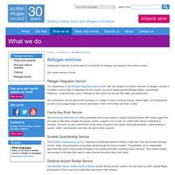 Advice services for asylum seeker and refugee in Scotland