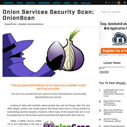 Onion Services Security Scan: OnionScan