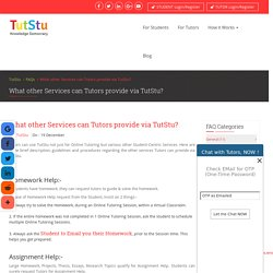 What other Services can Tutors provide via TutStu?