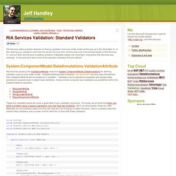 RIA Services Validation: Standard Validators