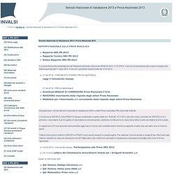 Servizio Nazionale di Valutazione 2013 e Prova Nazionale 2013
