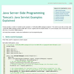 Tomcat's Java Servlet Examples Explained