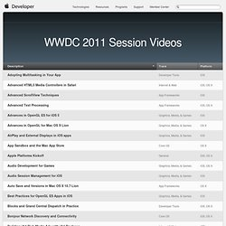WWDC 2011 Session Videos - Development Videos