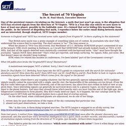 SETI Editorial: The Secret of 70 Virginis