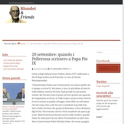 20 settembre: quando i Pellerossa scrissero a Papa Pio IX