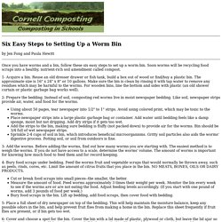 Six Easy Steps to Setting Up a Worm Bin - Cornell Composting
