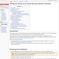 Setting up Samba as an Active Directory Domain Controller