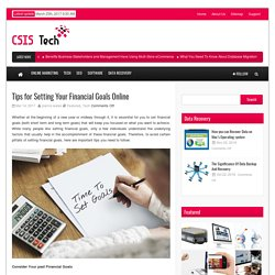 CSIS Tech Tips for Setting Your Financial Goals Online