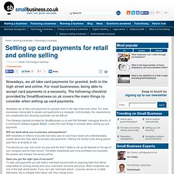Setting up card payments for retail and online selling