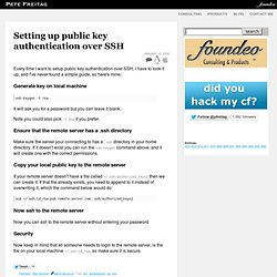 Setting up public key authentication over SSH