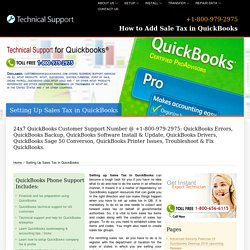Setting Up Sales Tax in QuickBooks-800-979-2975