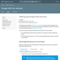 Setting Up Google Play Services