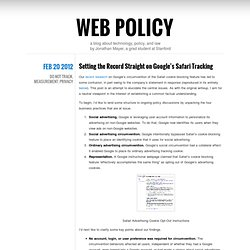 Setting the Record Straight on Google's Safari Tracking « Web Policy