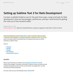 Setting up Sublime Text 3 for Rails Development