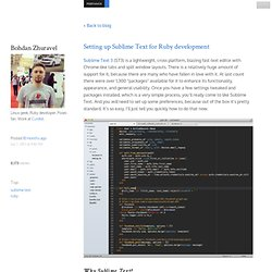 Setting up Sublime Text for Ruby development -