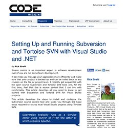 Setting Up and Running Subversion and Tortoise SVN with Visual Studio and .NET