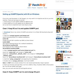 Setting up XAMPP(Apache) with IIS on Windows