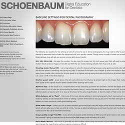 Basline Camera Settings for Dentists - Digital Education for Dentists - by Todd Schoenbaum, DDS