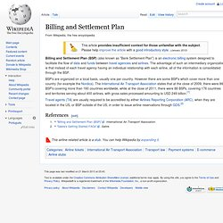 Billing and Settlement Plan