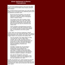 Ethnic Settlement in Alberta: Francophones, P1