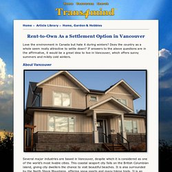Rent-to-Own a Perfect Settlement Option in Vancouver