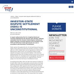 Investor-state dispute settlement (ISDS) is unconstitutional - Stop TTIP Stop TTIP