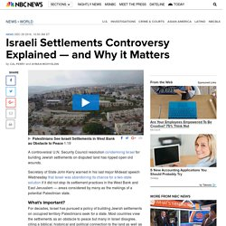 Israeli Settlements Controversy Explained — and Why it Matters