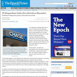 JP Morgan & Chase Settles Over Derivatives Misconduct | United States