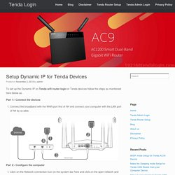 Setup Dynamic IP for Tenda Devices Tenda wifi router login