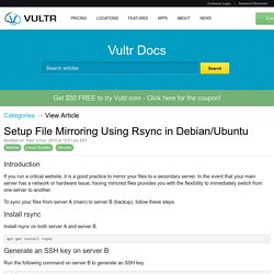 Setup File Mirroring Using Rsync in Debian/Ubuntu - Vultr.com