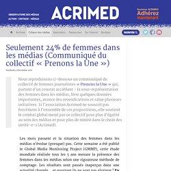 Seulement 24% de femmes dans les médias (Acrimed, déc 2015)