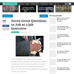 Seven Great Questions to Ask at a Job Interview