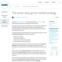 The seven-step go-to-market strategy - MaRS