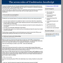 The seven rules of unobtrusive JavaScript