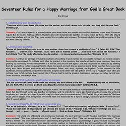 Seventeen Rules for a Happy Marriage from God's Great Book