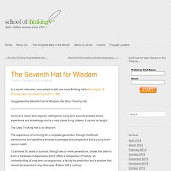 THE 7th HAT: for WISDOM and METACOGNITION