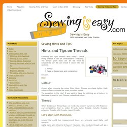 Sewing Hints and Tips