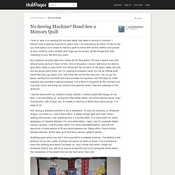 No Sewing Machine? Hand Sew a Memory Quilt