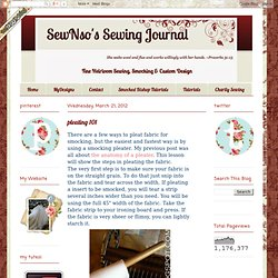SewNso's Sewing Journal: pleating 101