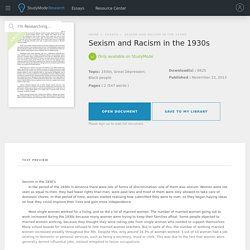 Sexism and Racism in the 1930s Essay - 547 Words