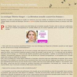 La sexologue Thérèse Hargot : «La libération sexuelle a asservi les femmes»