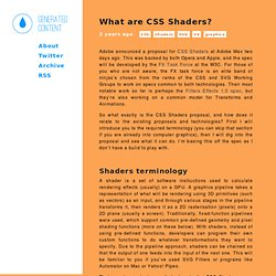 What are CSS Shaders? - destroy/dstorey