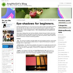 Eye-shadows for beginners. | AngMoGirl's Blog