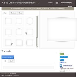 CSS3 Drop Shadows Generator - Application