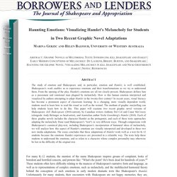 Borrowers and Lenders: The Journal of Shakespeare and Appropriation