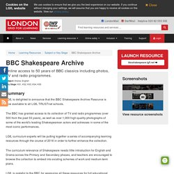 BBC Shakespeare Archive - London Grid for Learning