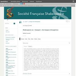 Shakespeare au «banquet» des langues étrang(èr)es