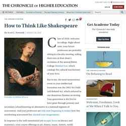 How to Think Like Shakespeare - The Chronicle of Higher Education