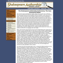 The Shakespeare Authorship Controversy: The Case Summarily Stated