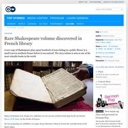 Rare Shakespeare volume discovered in French library